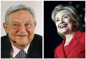 A combination photo shows billionaire financier George Soros (L) addressing the audience during an economic speech in Frankfurt on April 9, 2013 and former U.S. Secretary of State Hillary Clinton (R) speaking at a campaign event in Falls Church, Virginia on October 19, 2013 respectively. REUTERS/Ralph Orlowski (L) and Yuri Gripas (R)